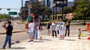 Protesters in front of Federal Reserve Bank of Dallas, TX