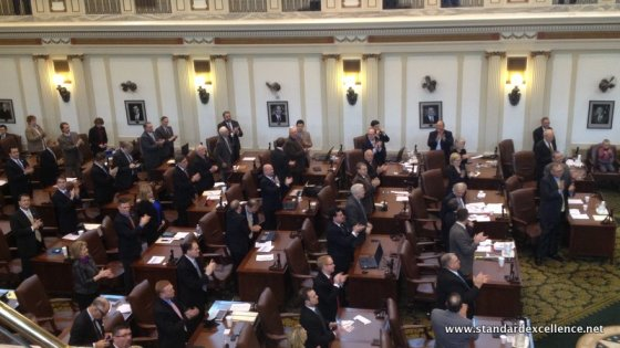 Oklahoma House of Representatives give a standing ovation to new Speaker Jeff Hickman