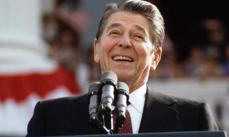 President Ronald Reagan smiling