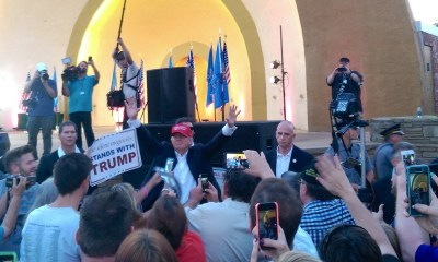 Donald Trump waves to a crowd at the Oklahoma State Fair