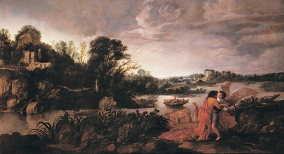 Moyses van Wtenbrouck, Jacob Wrestling with the Angel, 1623, oil on panel. Agnes Etherington Art Centre, Queen's University.   Gift of Alfred and Isabel Bader, 2013 (56-003.33)
