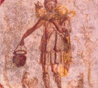 A fresco from the third century in the catacomb of Callixtus, Rome.