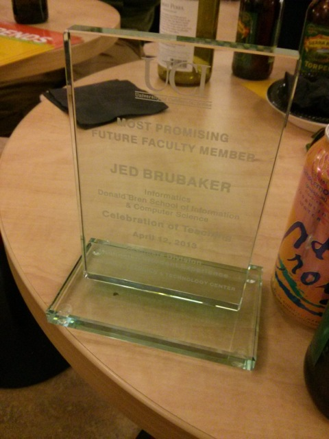Jed's most promising future faculty award
