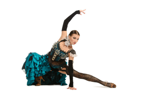 Beautiful female dancer perform tango dance with passion and exp