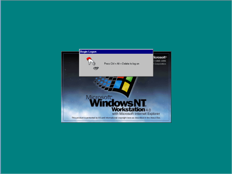 Logon screen for Windows NT Workstation 4.0