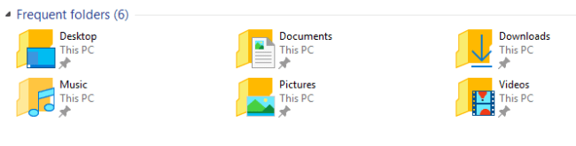 windows 10 - frequent folders