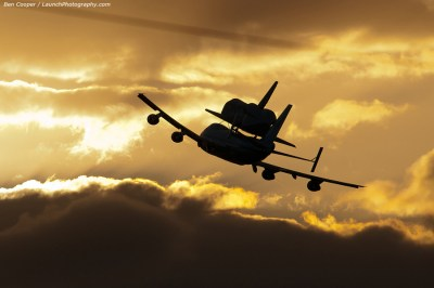 Discovery flies into the sunset
