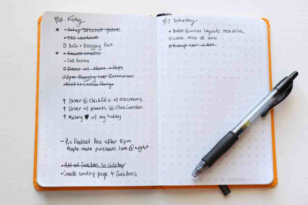 Daily To Do Log Bullet Journal for Bloggers and Moms