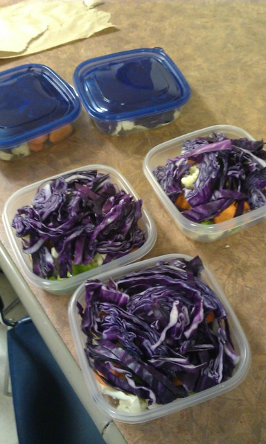Other small meals I had would consist of a banana/apple/pear (or a mango right after a workout due to its content in sugar among other things.) and some nuts/seeds or sallads. Here's how my sallads might look like – that one had cauliflower, red cabbage, avocado, carrot, and green pepper in it.