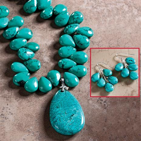 Raindrop Caribbean Necklace and Earrings Set