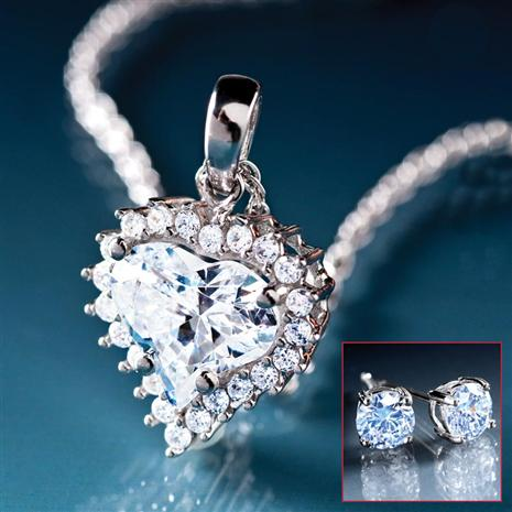 True Heart Pendant, Chain & Stud Earrings Set