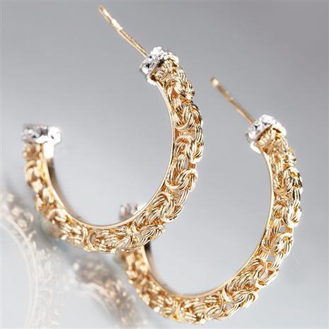 14K Gold Byzantine Braided Earrings