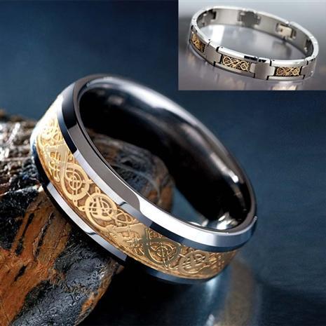 Mens Tungsten Draco Ring & Bracelet Set