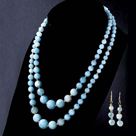 Mar Aquamarine Necklace & Earrings Set