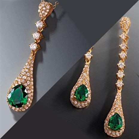 Scienza lab-created Emerald Majestic Necklace & Earrings Collection