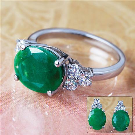 Isle Emerald Earrings & Ring Set