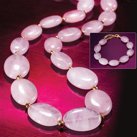 Love Stone Rose Quartz Necklace & Bracelet Set