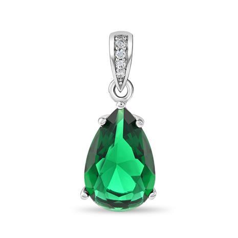 Diamond Aura Emerald Green Teardrop Pendant