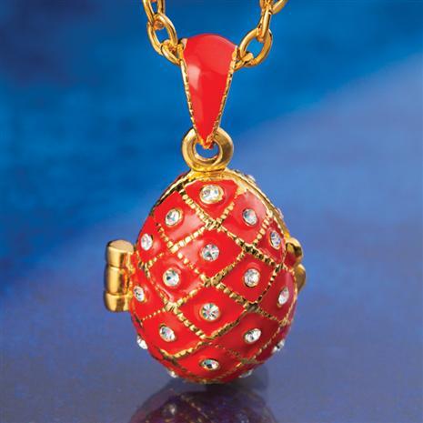 Orange Enamel Egg Necklace