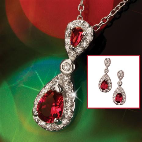 York Diamond Aura Pendant & Earrings Set