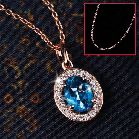 Skydream Swiss Blue Topaz Pendant & Rose-gold Finished Chain