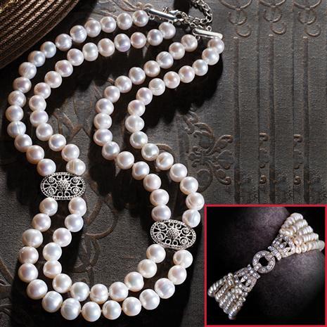 Earlsford Cultured Pearl Necklace & Bracelet Set