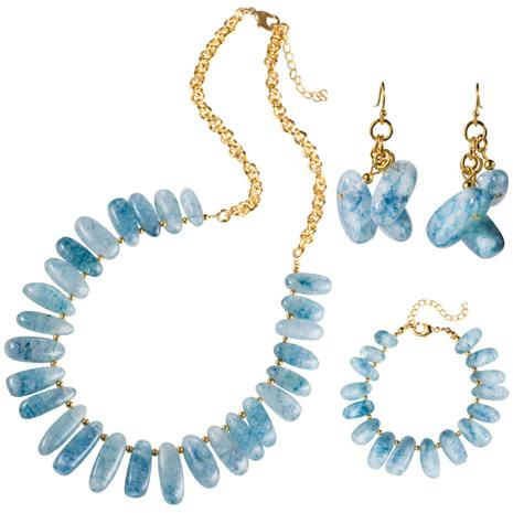 Aquaria Nile Cascade Necklace, Bracelet & Earrings Set