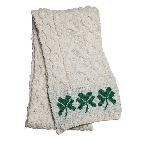 Genuine Irish Wool White Shamrock Scarf
