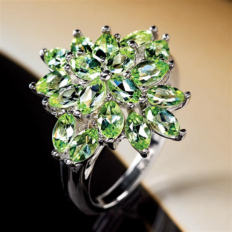 Peridot Sunburst Ring