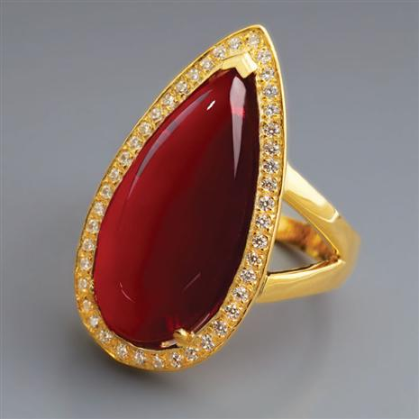 Scarlet Red Helenite Ring