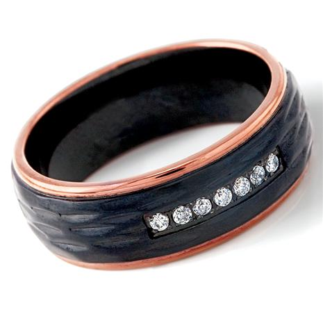Men's Chevalier Hammered Steel Black Ring