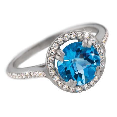 Blue Topaz & Diamond Aura Ring