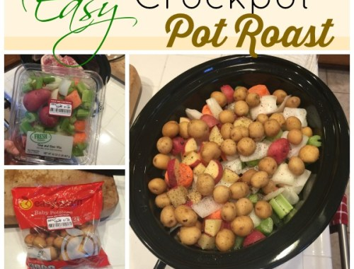 Easy Crockpot Pot Roast prepared in 5 minutes!