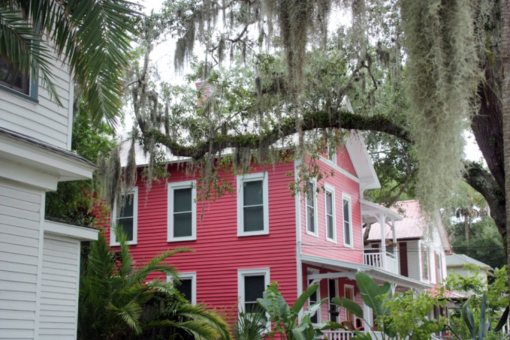 Saint Augustine, Florida pink historical home with spanish moss