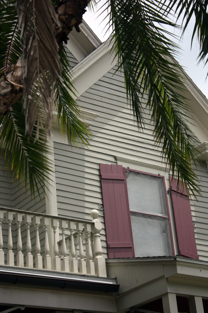 Saint Augustine, Florida gray historical home hurricane shutters