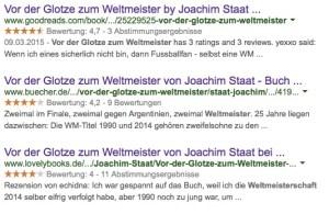 """Die Leserrezensionen bei """"Good Reads"""", """"Buecher.de"""" und """"Lovelybooks"""" liegen für """"Vor der Glotze zum Weltmeister"""" im Durchschnitt bei vier Sternen und mehr"""