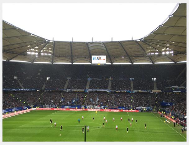 HSV-Fankurve im Hamburger Volksparkstadion
