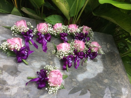 Corsages for the wedding entourage.