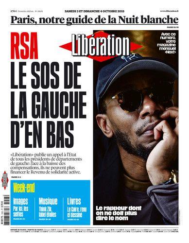 Une de Libération du 3 et 4 octobre 2015