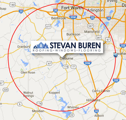 Stevan Buren Roofing, Windows, & Flooring service area