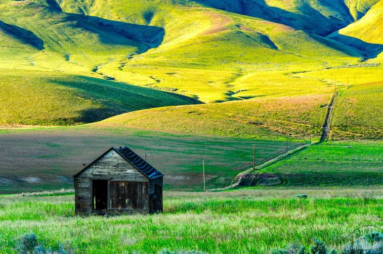 A photograph of an abandoned farm along State Route 24 in Yakima County, Washington.