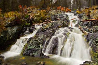 A photograph of a unknown name waterfalls along the upper North Fork Teanaway River Valley in Kittitas County, Washington.