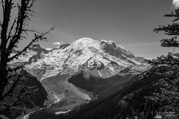 A black and white landscape photograph of Mount Rainier from Emmon's Vista in the Sunrise area of Mount Rainier National Park, Washington.