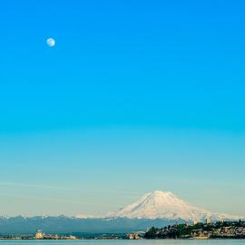 Moonrise Over Mt Rainier, Puget Sound, Tacoma, Washington, 2014