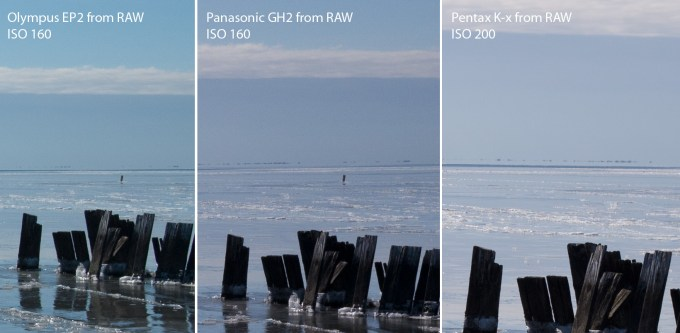 EP2 on the Left, GH2 in the Middle, Pentax Kx on the Right... 100% Crops
