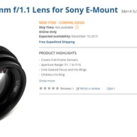 The SLR Magic 50 1.1 For E-Mount at $349! Happy Holidays!
