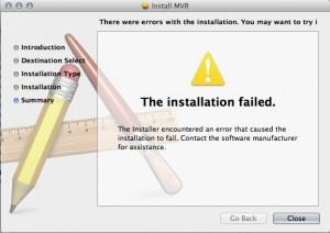 MVR 1.2 Mac OS X install error