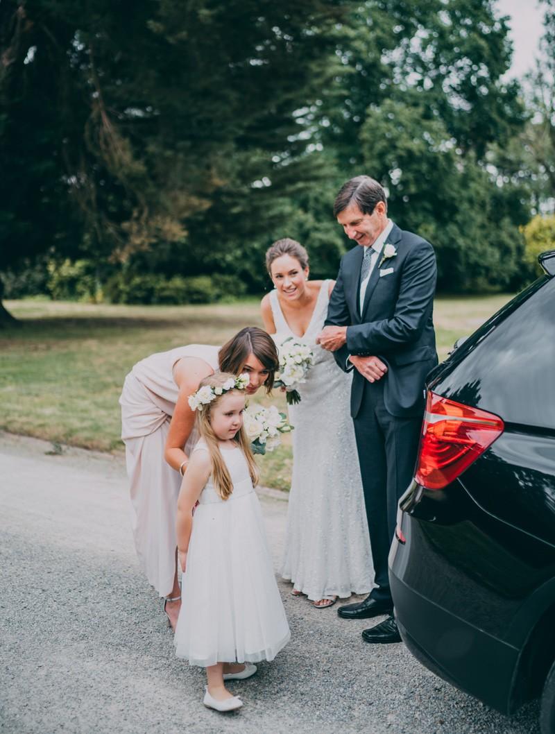 wedding ceremony with flower girl