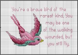 Stitch Pink Bird from DMC