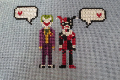 Joker & Harley in Love - finished stitching